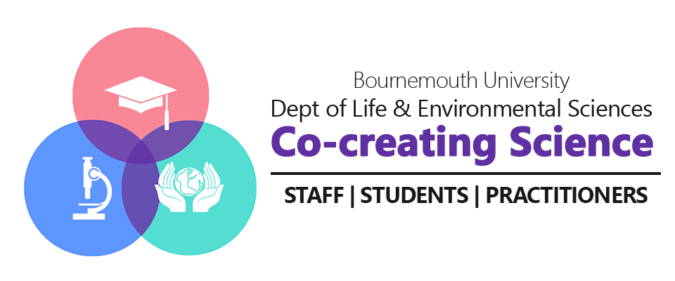 bournemouth university cocreate for science logo, wide logo. cocreate4science. Department of life and environment sciences